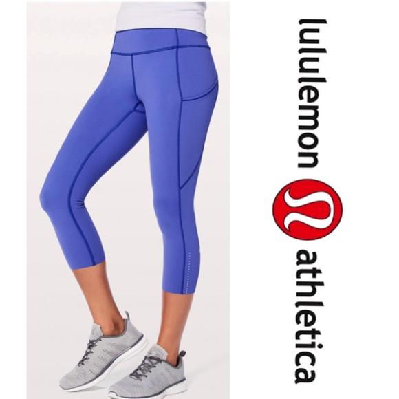 102f61d4ed17e lululemon athletica Pants | Lululemon Moroccan Blue Fast Free Crop ...